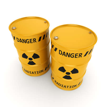barrels with nuclear waste: 3D rendering Yellows radioactive barrels on a white background Stock Photo