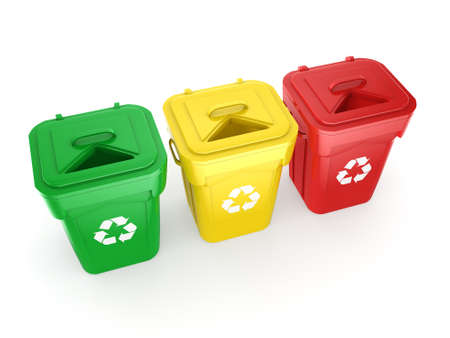 dumpster: 3D rendering Multicolor  recycling isolated bins on white background