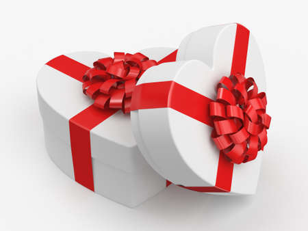 3D rendering White boxes with heart shaped red ribbon