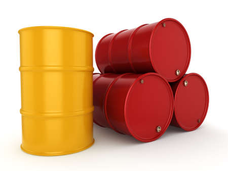 contain: 3D rendering red and yellow barrels not contain any inscriptions