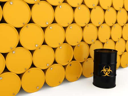 hazardous: 3D rendering yellow barrels with biologically hazardous materials