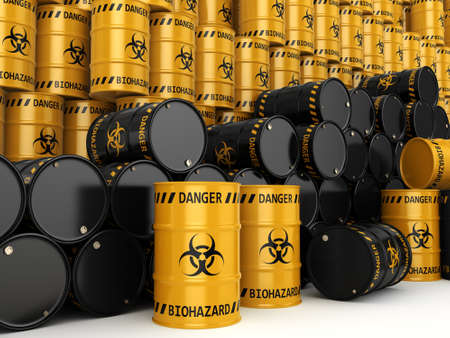 utilization: 3D rendering yellow and black barrels with biologically hazardous materials