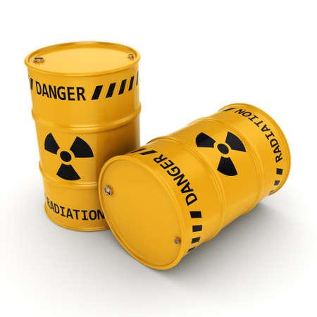 3D-rendering Yellows radioactieve vaten op een witte achtergrond Stockfoto