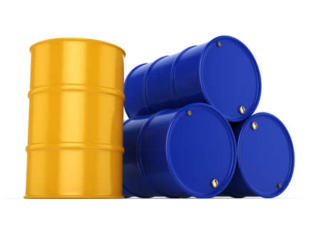 contain: 3D rendering blue and yellow barrels not contain any inscriptions