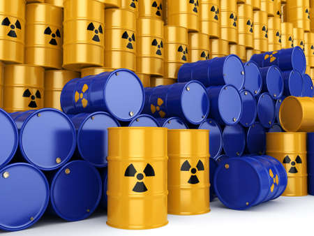 barrels with nuclear waste: 3D rendering yellow and blue barrels with radioactive materials