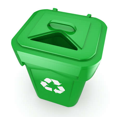 landfill: 3D rendering Green recycling bin isolated on white background Stock Photo
