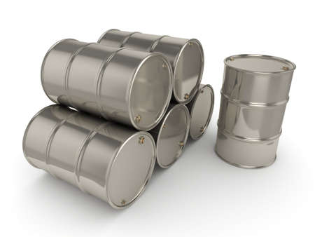 fuel storage: 3D rendering Shiny chrome barrels on a white background