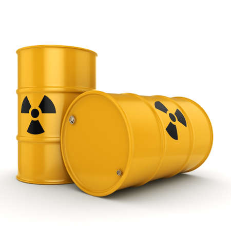 chemical material: 3D rendering yellow barrels with radioactive materials Stock Photo