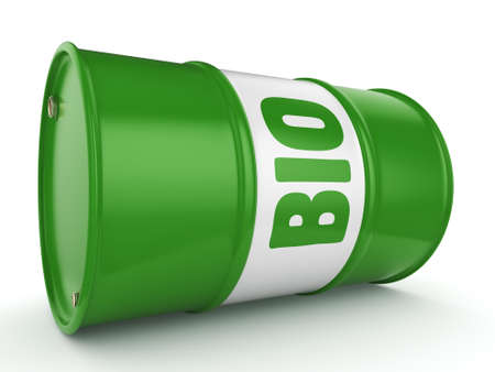 3D rendering green barrel for biofuels with lettering