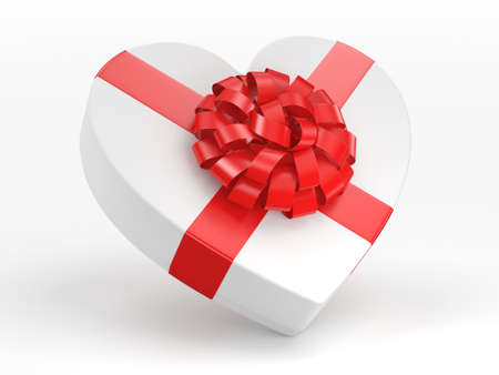 3D rendering White box with heart shaped red ribbon Stock Photo