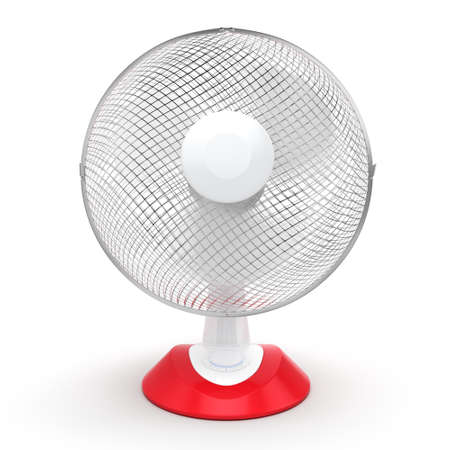 electric grid: 3D rendering table fan on a white background
