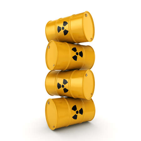 toxic substance: 3D rendering yellow barrels with radioactive materials Stock Photo