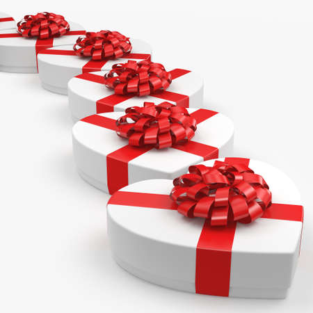 14: 3D rendering White boxes with heart shaped red ribbon