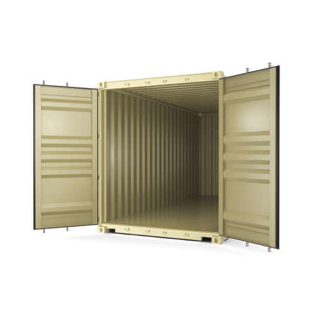 merchandize: 3D rendering container on a white background Stock Photo