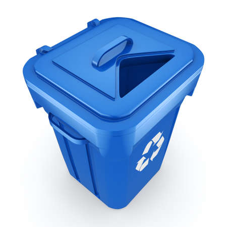 landfill: 3D rendering Blue Recycling Bin isolated on white background