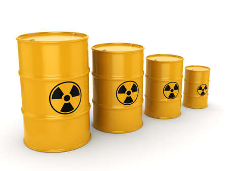 3D rendering yellow barrels with radioactive materials Stock Photo
