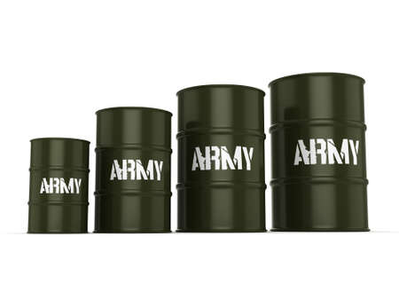 biological warfare: 3D rendering several army khaki barrels with the inscription