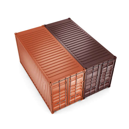 merchandize: 3D rendering containers on a white background on a white background