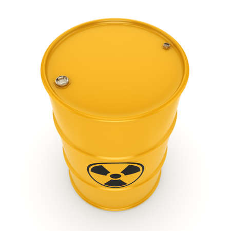 barrels with nuclear waste: 3D rendering yellow barrel with radioactive materials Stock Photo
