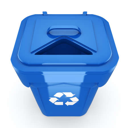 dumpster: 3D rendering Blue Recycling Bin isolated on white background
