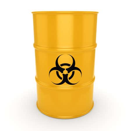 biological hazards: 3D rendering yellow barrel with biologically hazardous materials Stock Photo