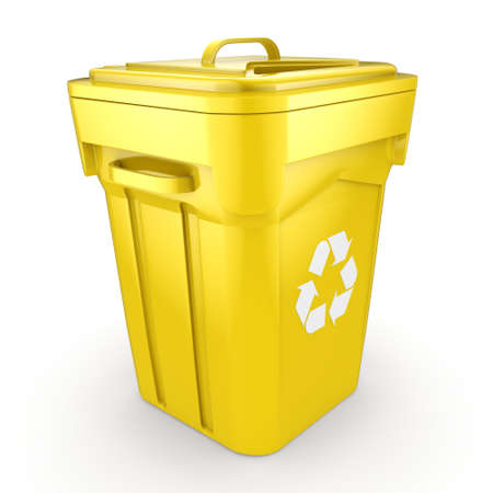 compost: 3D rendering Yellow Recycling Bin isolated on white background