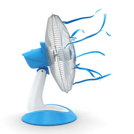 3D rendering table fan on a white background