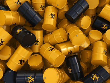 hazardous waste: 3D rendering yellow barrels with biologically hazardous materials