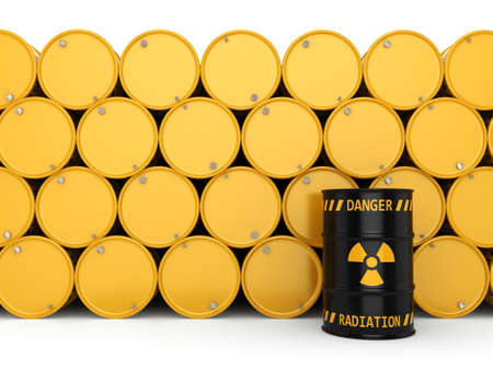 3D rendering Yellow and black radioactive barrels on a white background