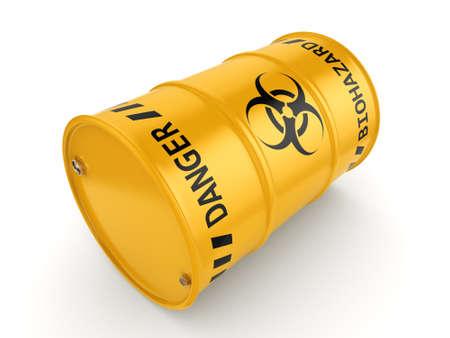 hazardous: 3D rendering yellow barrel with biologically hazardous materials Stock Photo