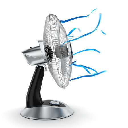turning table: 3D rendering table fan on a white background