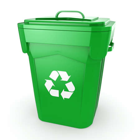 compost: 3D rendering Green recycling bin isolated on white background Stock Photo