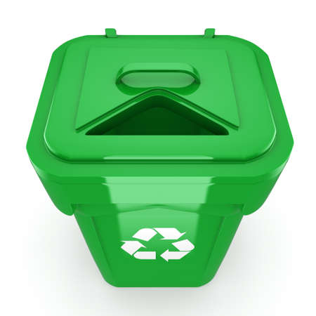 dumpster: 3D rendering Green recycling bin isolated on white background Stock Photo