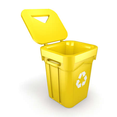 3D rendering Yellow Recycling Bin isolated on white background
