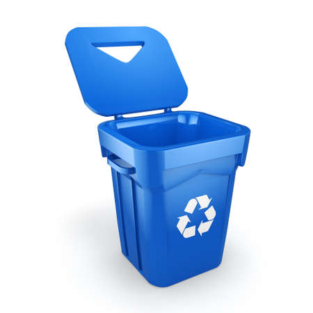 blue bin: 3D rendering Blue Recycling Bin isolated on white background