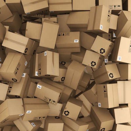 corrugated box: 3D rendering a lot of cardboard boxes