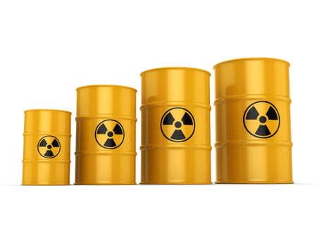 uranium: 3D rendering yellow barrels with radioactive materials Stock Photo