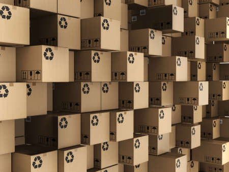 corrugated box: 3D rendering of the set of cardboard boxes Stock Photo