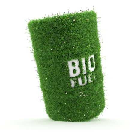 3D rendering barrel covered with green grass with biofuels