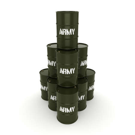 several: 3D rendering several army khaki barrels with the inscription