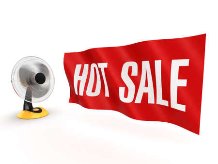 3D rendering table fan with a banner sales Stock Photo