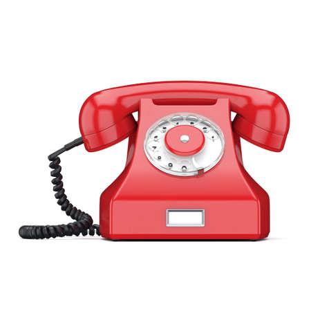 cable telefono: 3D viejo teléfono rojo sobre un fondo blanco