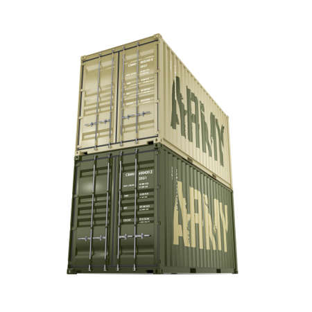 labeled: 3D rendering ship khaki containers labeled Army