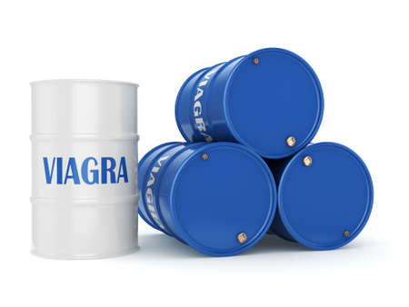 impotence: 3D rendering Viagra blue barrel on a white background