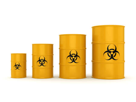 waste heap: 3D rendering yellow barrels with biologically hazardous materials