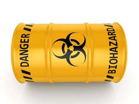 trash danger: 3D rendering yellow barrel with biologically hazardous materials Stock Photo