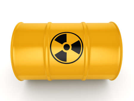 chemical material: 3D rendering yellow barrel with radioactive materials Stock Photo