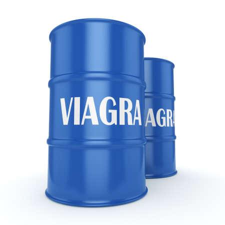 3D rendering Viagra blue barrel on a white background