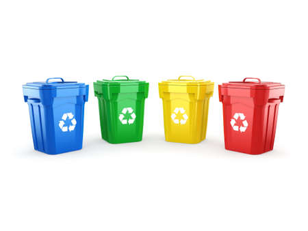 environmentalist: 3D rendering Multicolor  recycling isolated bins on white background