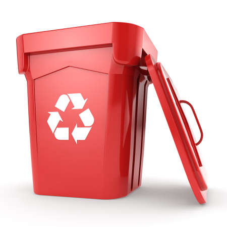 3D rendering Red Recycling Bin isolated on white background Stock Photo